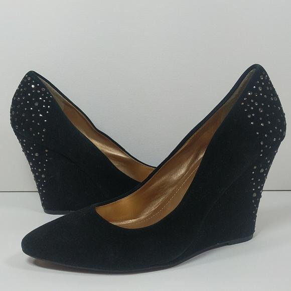 b53bd57a87a1 BCBGeneration Black suede   rhinestone wedge heels